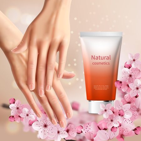 Sakura promotion flyer with women s hands and tube of hand cream with natural name vector illustration