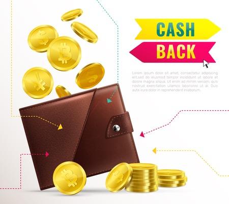 Gekleurde realistische portefeuilleaffiche met contant geld achterkrantekop en bruine leerportefeuille met contant geld vectorillustratie