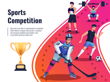 Sports competition background with winners cup and athletes boxing raising dumbbell playing hockey and football   vector illustration