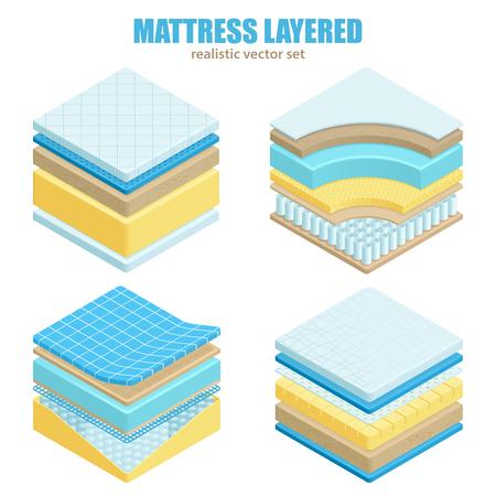 Orthopädischer Satz unterschiedliche Bettmatratze überlagert Material und Struktur für realistische Vektorillustration der korrekten Dornschlafposition