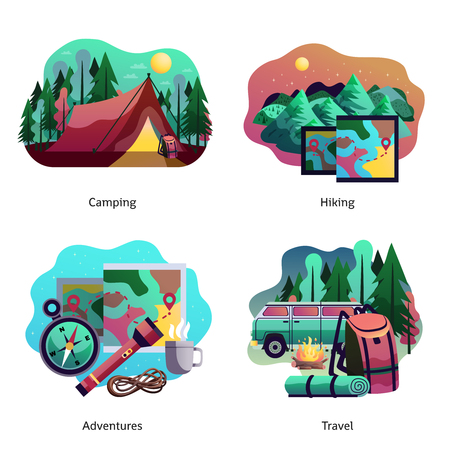 Hiking camping travel adventures 4 abstract icons concept design with tent van tourist accessories isolated.