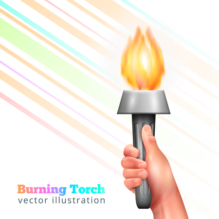 Torch in hand, realistic composition with human hand holding metal torchlight with flame and colorful lines.