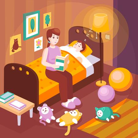 수면 복고풍 포스터 벡터 일러스트 레이 션을 위해 아이를 준비하는 아이 침대에 앉아 큰 소리로 취침 시간 이야기를 읽고 어머니