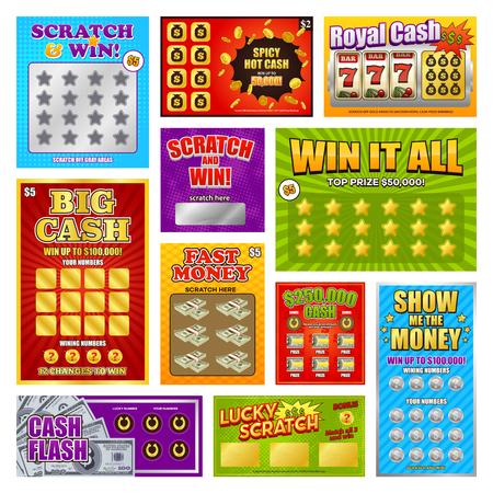 Conjunto de tarjetas y boletos rasca y gana con el juego para la lotería instantánea aislada ilustración vectorial Ilustración de vector