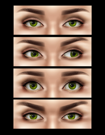 Set of realistic human female eyes expressions isolated on black background  vector illustration