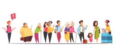 Ludzie czekają w długiej kolejce przy ladzie z grubas hipster starych młodych par dziecko ilustracji wektorowych