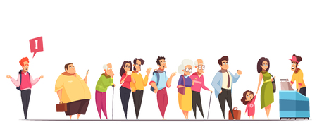 People waiting in long queue at counter with fat man hipster old young couples kid  vector illustration