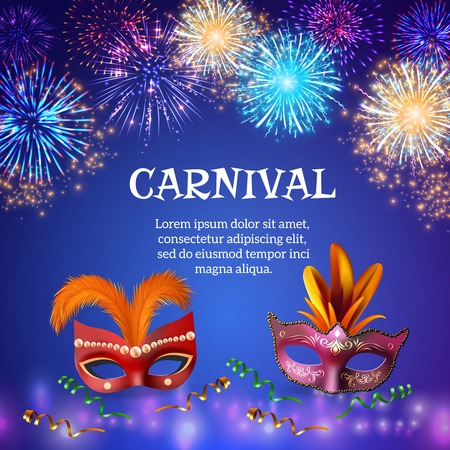 Fireworks composition background with realistic images of carnival masks, colorful firework shapes decorations and editable text.