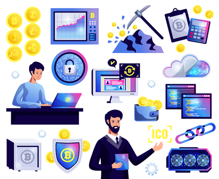 Cryptocurrency icons set of bitcoin mining block chains ICO launch graph of currency rates isolated vector illustration