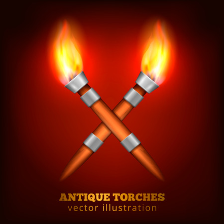 Crossed torches realistic composition with two burning torchlights made of wood and steel with text vector illustration