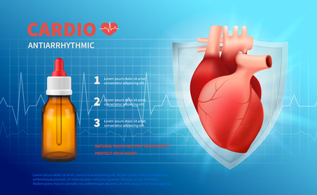 Cardio anti arrhythmic poster with natural medicines advertising and headline protect your heart realistic vector illustration Vectores