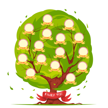 Genealogical tree template with round frames for portraits of family members on green foliage background vector illustration