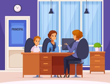 Kinder erzieht Elternschaftskarikaturzusammensetzung mit Direktorbüroinnenraum und menschlichem Charakter der Mutter- und Kindervektorillustration Vektorgrafik