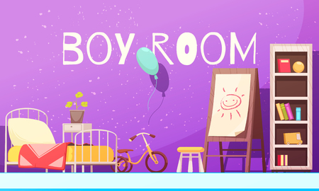 Boy room in violet color with bed, shelves with books, bike, board with drawing cartoon vector illustration