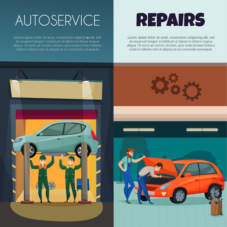 Car service vertical banners set with repairs and workers symbols flat isolated vector illustration