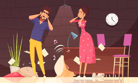 Man and woman closing ears and loud howl of puppy after pranks in home interior vector illustration Illustration
