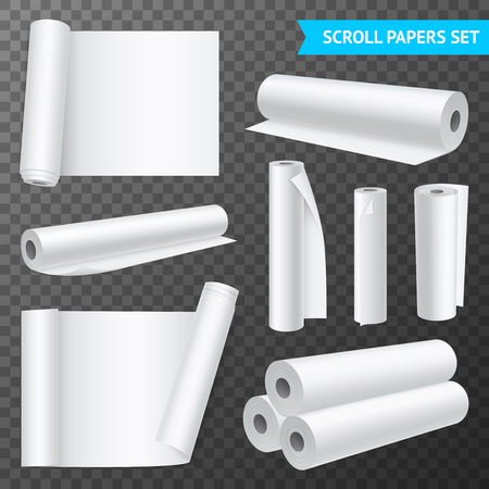Realistic set of isolated clean white paper scrolls on transparent background vector illustration
