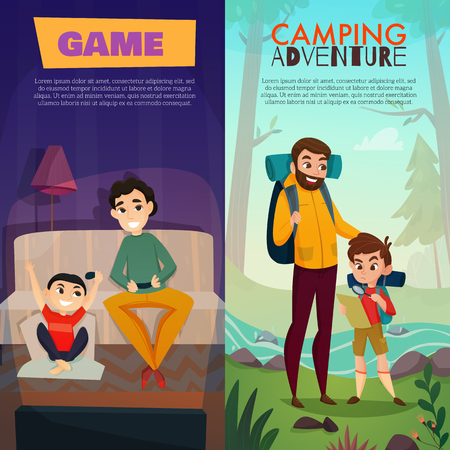 Fatherhood vertical banners, dad and son during home game and camping adventure isolated vector illustration Illustration