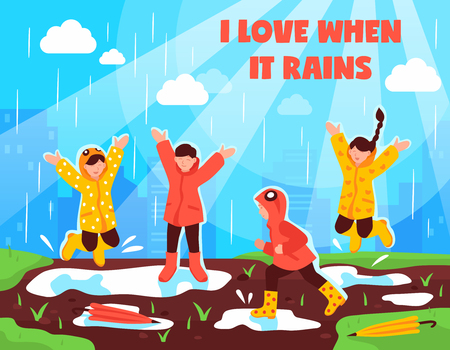 Kids love rainy weather poster with children in waterproof clothing having fun jumping in puddles vector illustration
