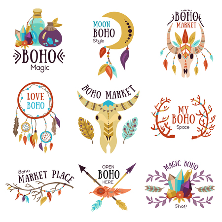 Boho magic symbols emblems collection for market place with moon dream catcher buffalo head isolated vector illustration