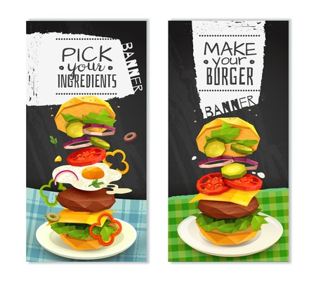 Set of vertical banners on black background with hamburger on white dish isolated vector illustration