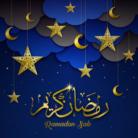 Ramadan kareem holy symbols decorations sale dark blue background poster with golden stars crescents greeting vector illustration