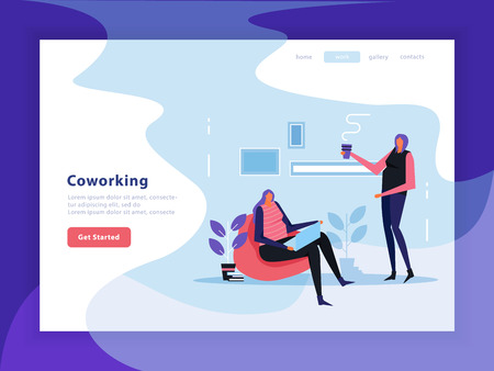 Coworking landing page with interface elements of web site, female creative team flat vector illustration  Vectores