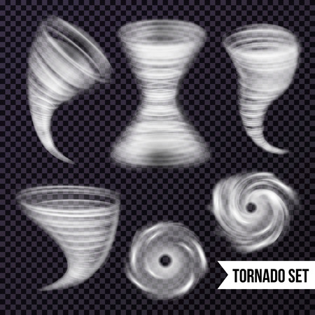 Storm hurricane tornado cyclone realistic set with isolated images of airy spiral swirls on transparent background vector illustration Ilustração