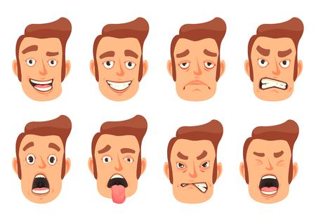Los hombres gestos faciales placer sorpresa miedo asco emociones 8 iconos de dibujos animados de boca linda conjunto aislado ilustración vectorial Ilustración de vector