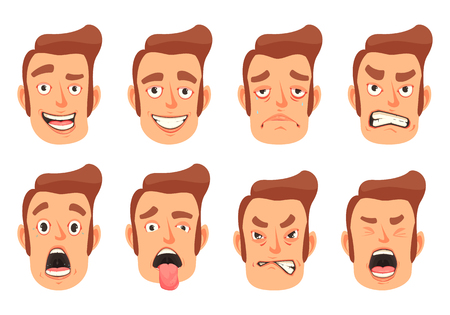 Men facial gestures pleasure surprise fear disgust emotions 8 cute mouth cartoon icons set isolated vector illustration