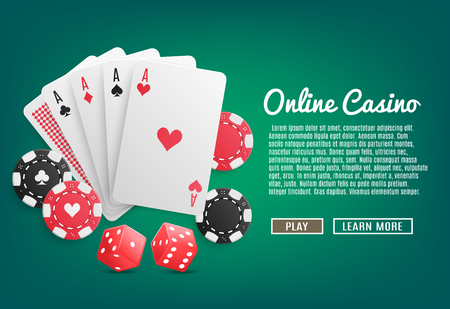 Online casino realistic web page design with cards poker chips dices play and learn more buttons vector illustration Imagens - 99521155