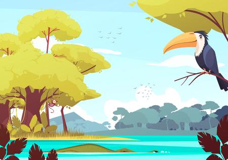 Jungle landscape with monkey on tree, crocodile in river, flock of birds in sky cartoon vector illustration
