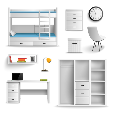 Teen room interior furniture realistic elements set with bunk bed desk shelves drawer lamp isolated vector illustration