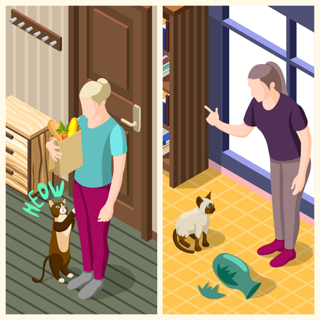 Ordinary life of man and his cat vertical isometric banners with home interior isolated vector illustration  Ilustrace