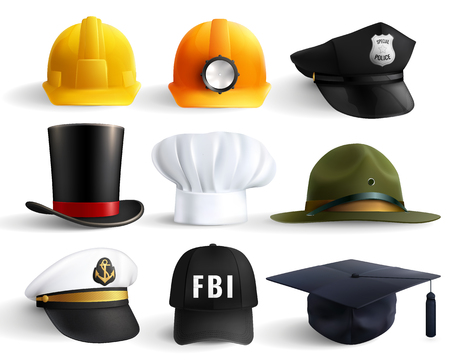 Different professions hats set with magistr hat miner helmet cylinder chef fbi and police head uniform isolated vector illustration