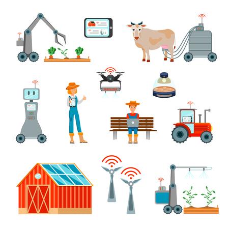 Conjunto plano de agricultura inteligente con robots de recolección de ordeño automático Planta de energía eólica operada con iconos de Internet inalámbrico aislado ilustración vectorial