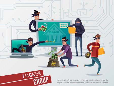 Colored internet hacker composition with hacker group headline and group of thieves steal information vector illustration
