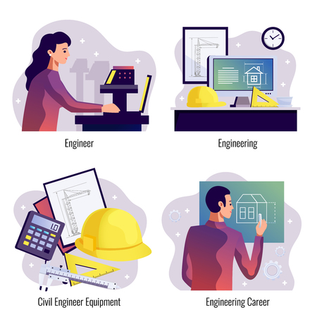 Engineering design concept set of designer and constructor workplace and tools flat vector illustration