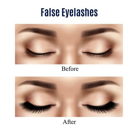 黒い偽のまつげの孤立したベクトルのイラストを使用する前後のリアルな閉じた女性の目  イラスト・ベクター素材