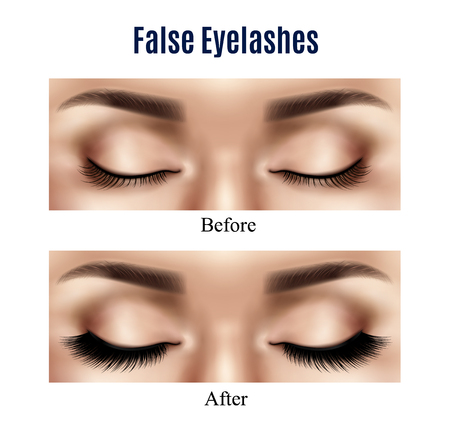 Realistic closed female eyes before and after using black false lashes isolated vector illustration