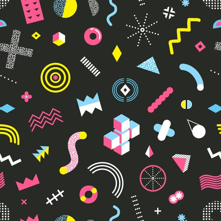 Memphis design geometric elements seamless pattern with cubes circles triangles dots patterns on black background vector illustration