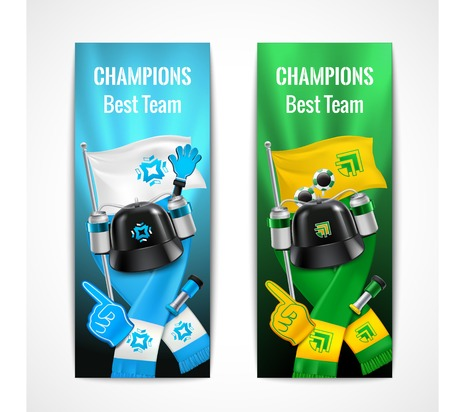 Fan sport vertical banners set with champions symbols realistic isolated vector illustration