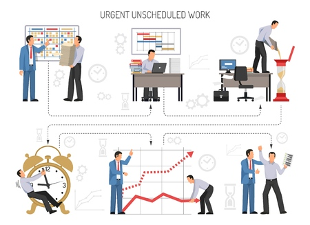 People planning and doing urgent office work flat vector illustration