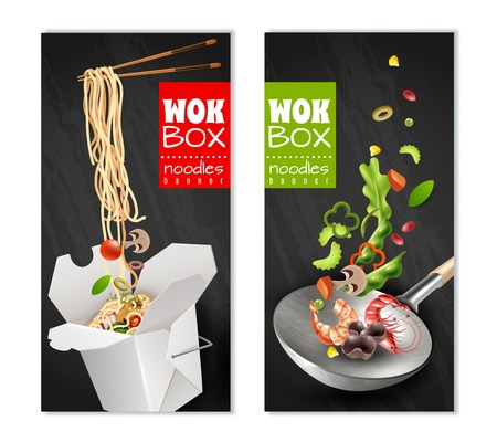 Realistic chinese noodles in carton box, wok with flying ingredients banners on black background isolated vector illustration