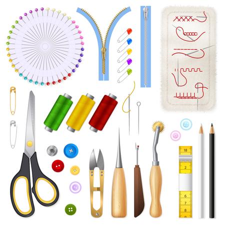 Conjunto de iconos aislados de costura de cinta de centímetro cremallera tijeras botones agujas hilos ilustración vectorial realista