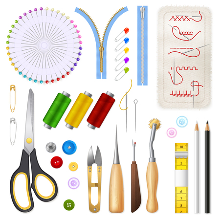 Sewing isolated icons set of centimeter tape zipper scissors buttons needles threads realistic vector illustration