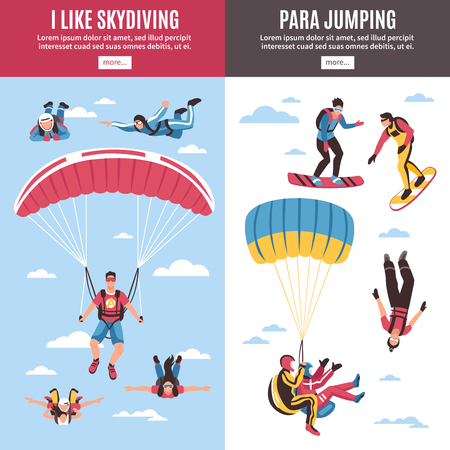Skydiving vertical banners set with extreme sports symbols flat isolated vector illustration Фото со стока - 99540295