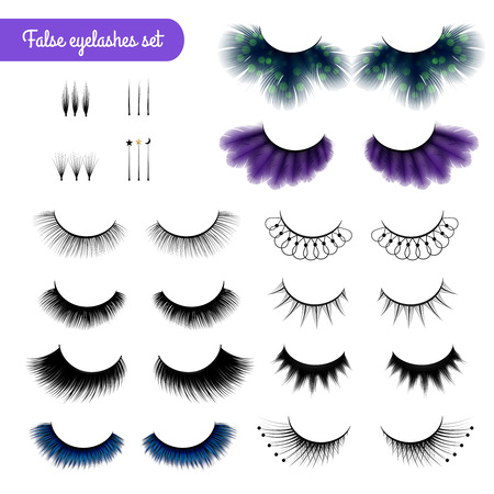 Set of realistic false eye lashes of various shape and color isolated on white background vector illustration Ilustrace