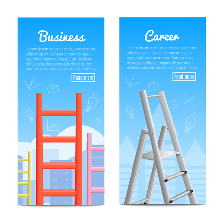 Career ladder business job promotion metaphor 2 realistic vertical informative banners web page design isolated vector illustration  向量圖像