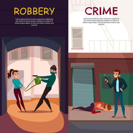 Criminal vertical banners set with robbery symbols flat isolated vector illustration